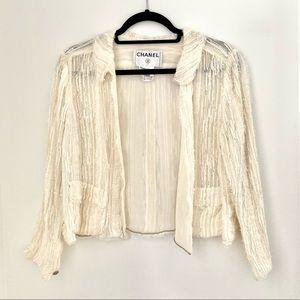 Vintage Chanel Sheer Ivory and Frayed Silk Jacket